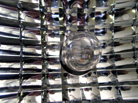 Reflected bulb stock photo, A light bulb mounted in a reflective housing by Rob Wright