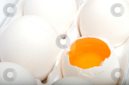 Broken Egg stock photo, A broken egg in an egg carton. by Robert Byron