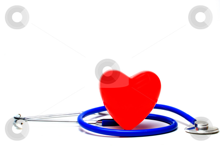 Cardiology stock photo, A red heart shape and a medical stethoscope. by Robert Byron