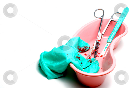Surgery Tools stock photo, A selection of blood covered surgery tools. by Robert Byron