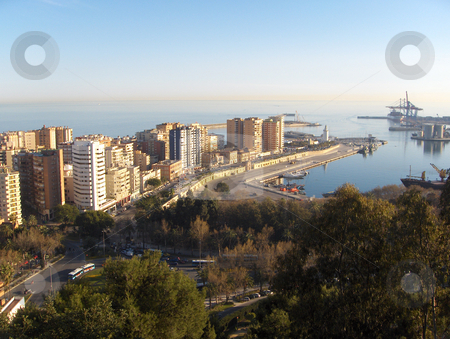 Malaga Spain stock photo, Looking down on the industrial harbour and resort high rises of Malaga, Spain. by Jessica Tooley