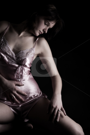 Woman in sexy lingerie stock photo, Young girl in sexy luxury lingerie on black by Frenk and Danielle Kaufmann