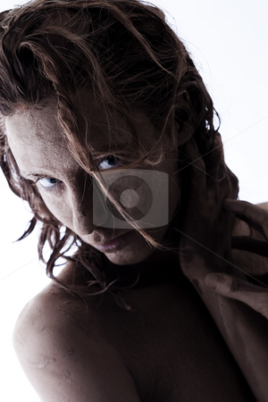Clay shot stock photo, A model totally covered in clay by Frenk and Danielle Kaufmann