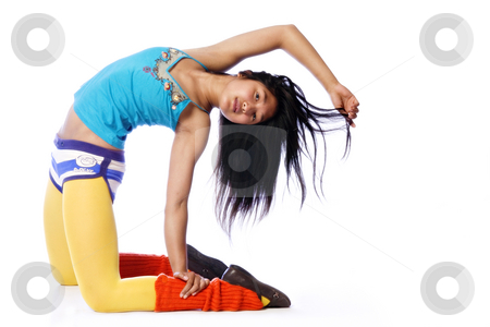 Asian model in a gymnastic pose stock photo, Portrait of an Asian model in a gymnastic pose by Frenk and Danielle Kaufmann