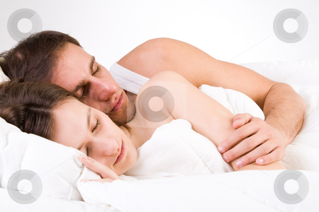 Sleeping toghether stock photo, Young adult couple in the studio sleeping by Frenk and Danielle Kaufmann