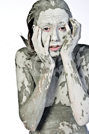What have I done? stock photo, Nude woman model covered in clay by Frenk and Danielle Kaufmann