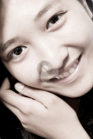 Asian girl smiling cute stock photo, Portrait of an Asian girl smiling cute by Frenk and Danielle Kaufmann