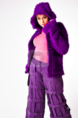 Fashion in purple stock photo, Beautiful young good looking woman with a hooded sweater by Frenk and Danielle Kaufmann