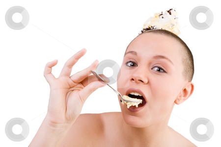 Young woman eating ice cream stock photo, Young goodlooking woman with a ice cream on her head by Frenk and Danielle Kaufmann