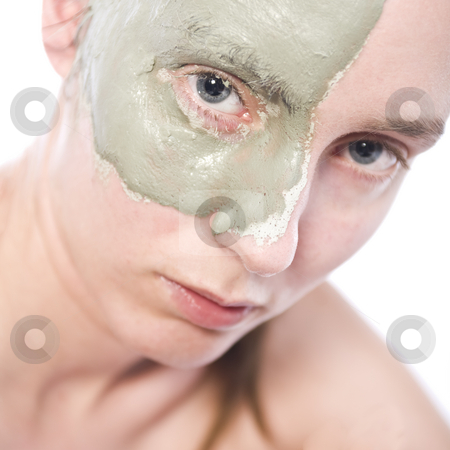 Clay mask stock photo, Nude woman model wearing a partial clay mask by Frenk and Danielle Kaufmann