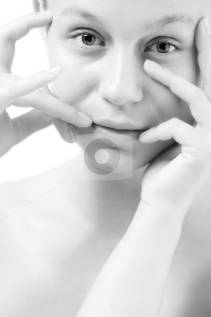Natural black and white face stock photo, Natural portrait of a young good looking woman by Frenk and Danielle Kaufmann