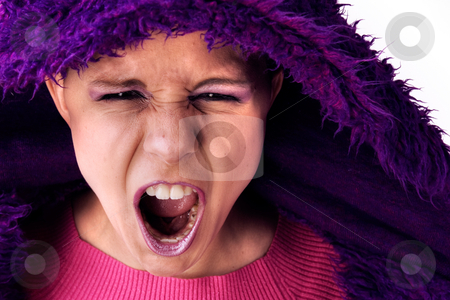 Aggressive screaming woman stock photo, Young woman is aggressive and screamed it out loud by Frenk and Danielle Kaufmann