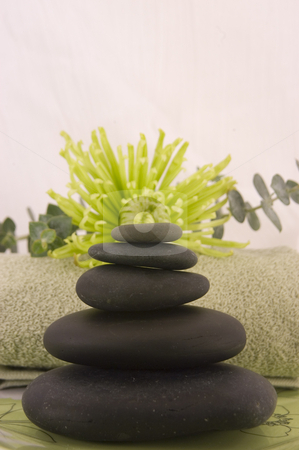 Massage stones stock photo, Massage Stones, Green Aster, and Towel 4 by Ariana Bauer