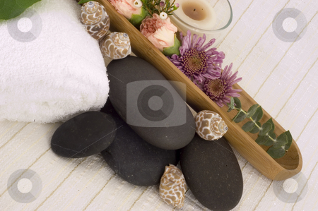 Massage stones stock photo, Massage Stones, Flowers, and Towel 4 by Ariana Bauer