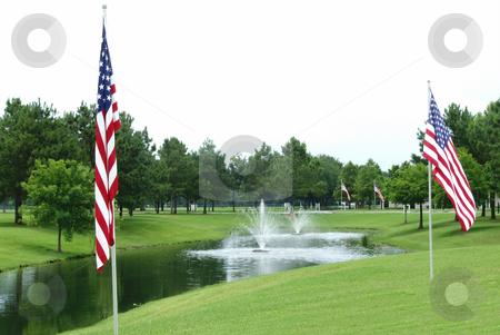 Veteran Cemetery Flags stock photo, Flags flying at veteran memorial cemetery by Marburg