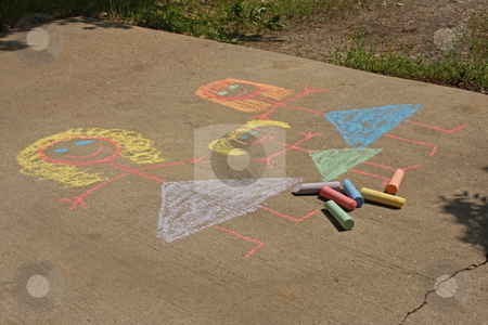 Lesbian Family stock photo, Concept image for gay parenting or gay marriage; a chalk child's drawing on a sidewalk or driveway, of two women and a female child. by Jessica Tooley