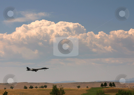 B-1 Bomber on Approach stock photo, A B-1B bomber approaches Ellsworth AFB, Rapid City, SD. by Marc Saegesser