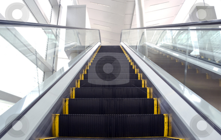 Escalator stock photo, An image of an escalator with some motion blur by Stefan Breton