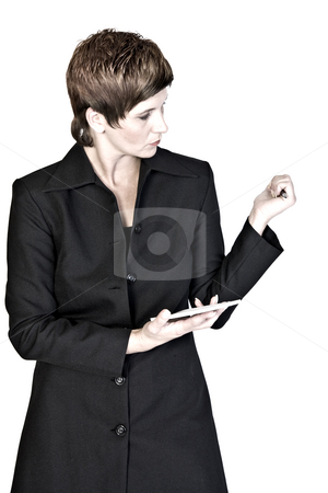 Write it down stock photo, Adult woman portraits taken in the photo studio on a white background by Frenk and Danielle Kaufmann