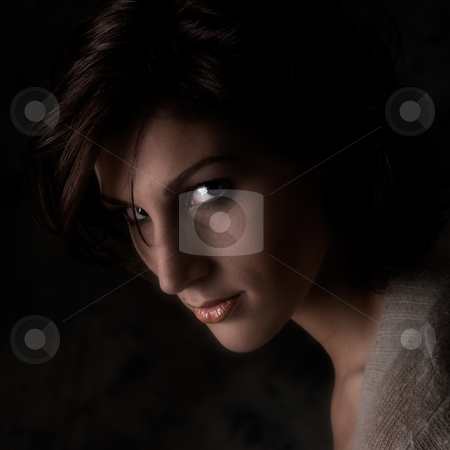 Portrait of a beautiful young tall woman stock photo, Studio portrait of a pretty brunette lady by Frenk and Danielle Kaufmann