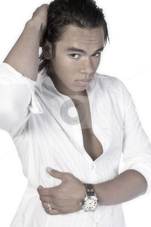 Latino boy wondering stock photo, Studio portrait of a muscular Asian sexy looking boy wondering by Frenk and Danielle Kaufmann