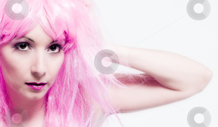 See my wig stock photo, Portrait of a woman in front of a white background in a studio enviroment by Frenk and Danielle Kaufmann
