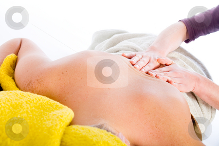 Wellness girl series massage stock photo, Studio portrait of a spa girl getting a massage by Frenk and Danielle Kaufmann