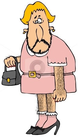 Cross Dresser stock photo, This illustration depicts a hairy man dressed in women's clothing. by Dennis Cox