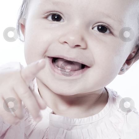 Smilng and looking at stock photo, Little children portraits taken in the studio on a white background by Frenk and Danielle Kaufmann