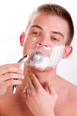 Shaving man stock photo, Young man with shaving foam on his face by Frenk and Danielle Kaufmann