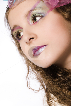 Beautyfull Kid with extreme make-up stock photo, Studio portrait of a young girl with extreme make-up by Frenk and Danielle Kaufmann