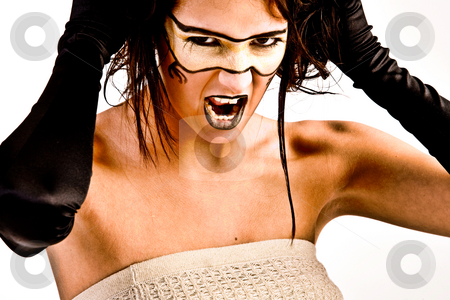 Futuristic girl screaming stock photo, Agressive futuristic girl by Frenk and Danielle Kaufmann