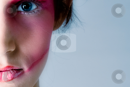 Pretty brunette with extreme make-up stock photo, Close studio portrait of a pretty brunette with special artistic cosmetics by Frenk and Danielle Kaufmann