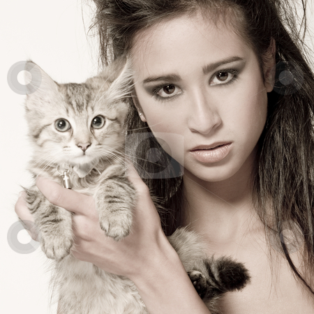 Mixed raced young beauty and the kitten stock photo, Studio portrait of a beautiful mixed race, vietnamese girl and a main coone kitten by Frenk and Danielle Kaufmann