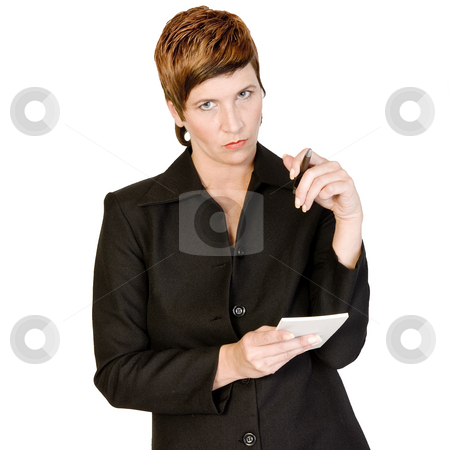 Writing down stock photo, Adult woman portraits taken in the photo studio on a white background by Frenk and Danielle Kaufmann