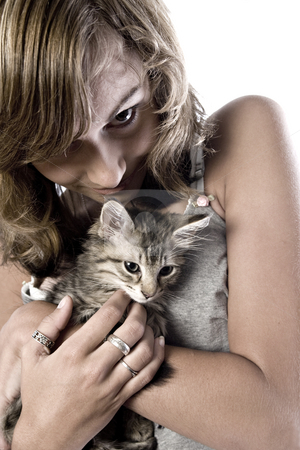 My main coone kitten stock photo, Studio portrait of a teenage model posing with a kitten by Frenk and Danielle Kaufmann