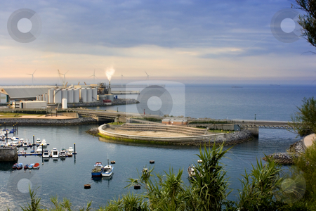 Industry stock photo, Image of a industry near the dock in the sea by Ivan Montero