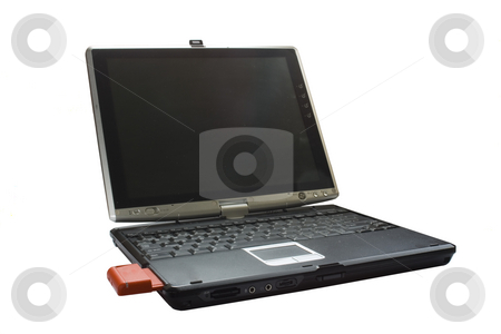 Laptop stock photo, Image of an opened laptop with the screen ready to edit by Ivan Montero
