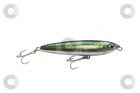 Lure stock photo, Colorfull fishing lure with treble hooks by Ivan Montero