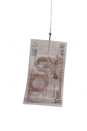 Money stock photo, Paper money notes with fishing hooks by Ivan Montero