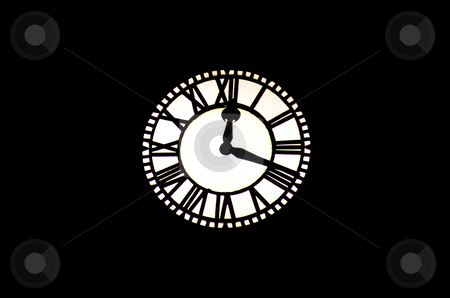 Clock stock photo, A vintage clock in a tower at midnight by Ivan Montero