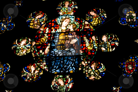 Window stock photo, Image of the coloured window of a cathedral by Ivan Montero
