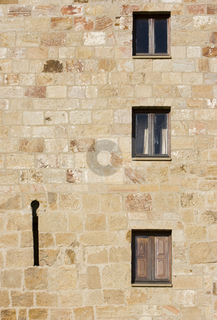 Wall stock photo, Image of the detail of a stone wall of a monastery by Ivan Montero
