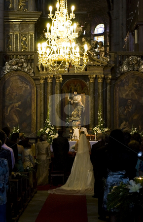 Wedding stock photo, A christian wedding inside a cathedral by Ivan Montero