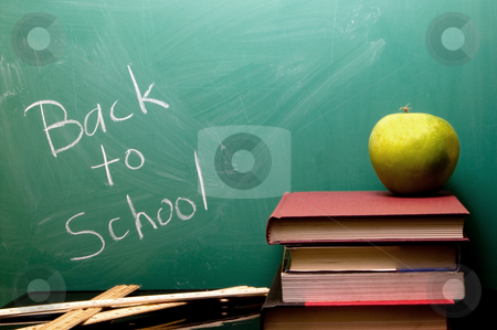 Back to School stock photo, Back to School written on a chalkboard. by Robert Byron