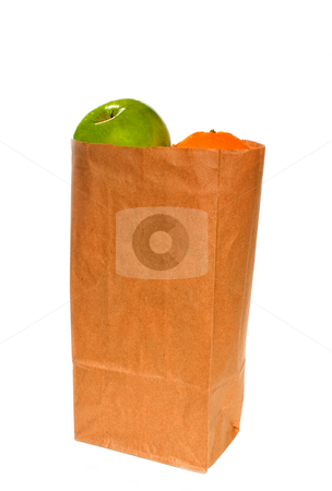 Apple and Orange stock photo, An apple and an orange in a lunch bag. by Robert Byron