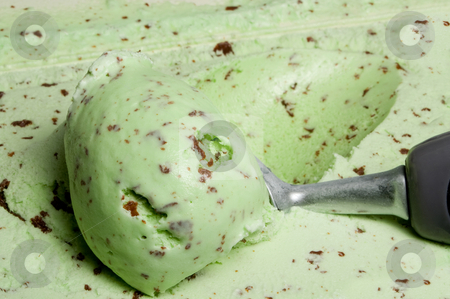 Mint Chocolate Chip Ice Cream stock photo, A big scoop of mint chocolate chip ice cream. by Robert Byron