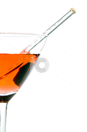 Hot Martini stock photo, A red hot martini with a thermometer. by Robert Byron