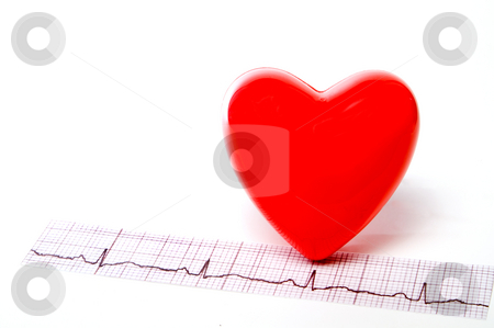 EKG Heart stock photo, A heart shape and an EKG strip. by Robert Byron