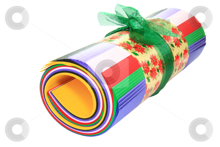 Colored roll of paper  stock photo, Colored  roll of paper tied with green ribbon by Jonas Marcos San Luis